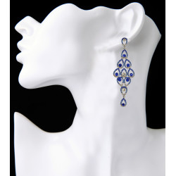 E-3859 2016 Free shipping new luxury red blue clear crystal silver plated alloy bridal earrings jewelry long tassel drop earrings for women