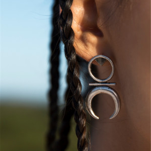 E-3862 Bohemian Style Silver Gold Alloy Drop Earring Round Moon Shape Earrings For Women Jewelry