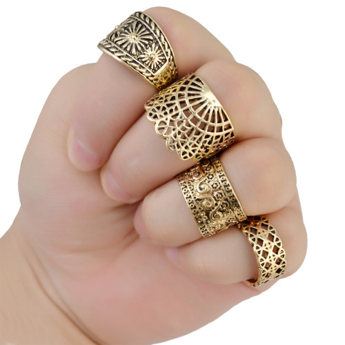 R-1395 Fashion Jewelry Wholesale price Vintage Gold /Silver Plated Hollow out Carved Flower Shape Gypsy Punk Finger Rings Set Jewelry