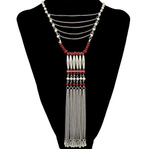 N-6417 3 Colors Bohemian Fashion Necklace Crystal Beaded Copper Pipe Tassel Chain Pendant Necklaces Women Jewelry