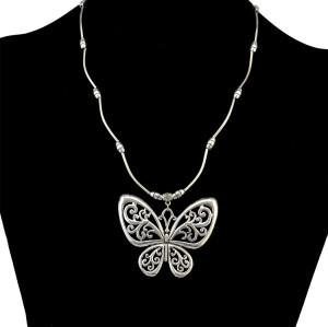 N-6400 Popular to the Women Butterfly Tassel Shape  Silver Plated Chain Charm Short Choker Bid Neckalce