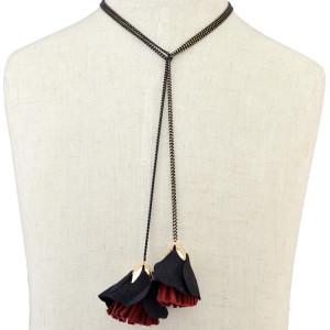 N-6398 Girls Handmade Long Black Chain Velvet PU Leather  Choker Tassel Flower Pendants Necklaces