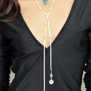 N-6403 Handmade Long Black Chain natural turquoise Leather Chain Pendants Necklaces Jewerly