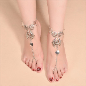 B-0794 Ethnic Summer Anklet Boho Beads Anklets Foot Silver Chain Hamsa Beach Jewelry Girl