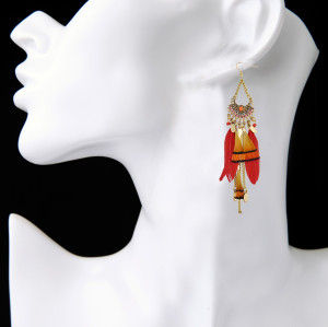 E-3864 Newest  Fashion Design Gold Plated Chain Bohemian Style Long Feather Tassel Hollow Out Drop  Earrings