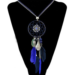 N-6443 4 Colors Bohemian Fashion Necklaces Leather Chain Resin Feather Tassel Necklace For Women Jewelry