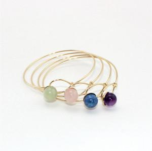 B-0798 Fashion Goldplated Natural Stone Beads Bangle Bracelet Jewelry for Women