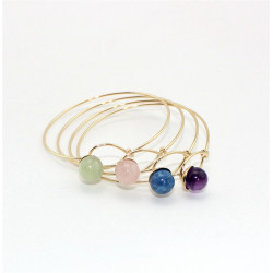 B-0798 Fashion Goldplated Natural Stone Beads Bangle Bracelet Jewelry for Women