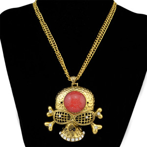 N-6414 Punk Cool Vintage Punk Rock Gothic Skull Pendant Double Short Chain Necklace