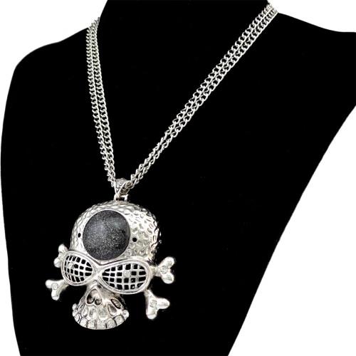 N-6414 Punk Cool Vintage Punk Rock Gothic Skull Pendant Double Short Chain Necklace