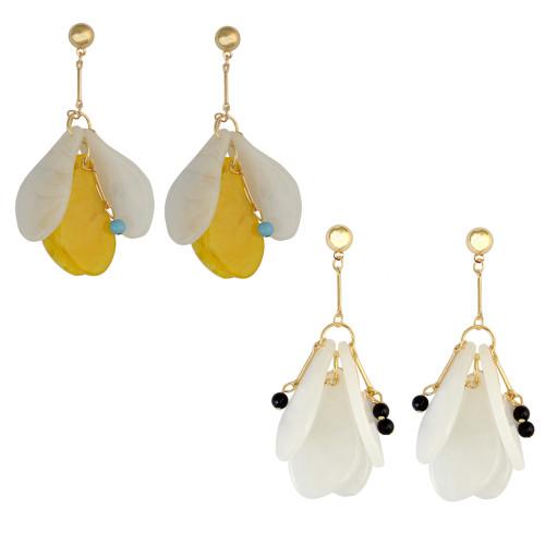 E-3870 2 Colors Fashion Style Gold Plated Long Tassel Fan Shape Resin Beads Drop Earrings for Women