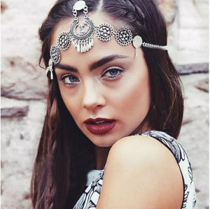 F-0352 Bohemian vintage style silver metal hollow out flower headpiece headband ethnic head chain headwear hair jewelry
