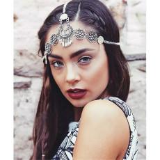 F-0352 Bohemian vintage style silver metal hollow out flower headpiece headband ethnic head chain headwear hair jewelry