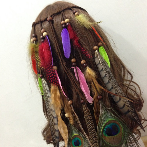 F-0351 Retro Style Rope Chain Natural Stone Feather Tassel Hairband Accessory