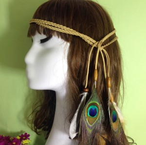 F-0350  bohemian vintage style hemp rope chain resin beads feather tassel hairband for women jewelry