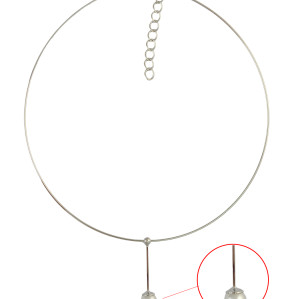 N-6412 Women's Circle Chain Collar Necklace Delicate Wire Choker Imitation Pearl Pendant Statement Necklaces