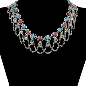 N-6408 Vintage Silver Short Chain Resin Beads Tassel Statement Necklace Choker