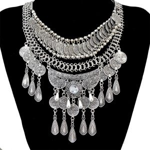 N-6407 Bohemian Vintage Silver Coins Tassel Necklace Crystal Carved Flower Pendant Necklace Women Jewelry