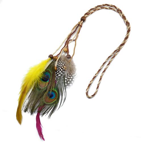 F-0354 Fashion Indian Exotic Peacock Feather Headware Handmade Headband Weave Leather Chain Wooden Beaded Feather Tassel  Headband Jewelry
