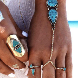 B-0793 Bohemian Gypsy Silver plated waterdrop shape turquoise Bracelet and anklet  For Women Jewelry