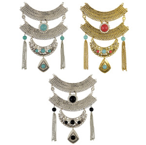 N-6441 Bohemian Gold Silver Fashion Necklace Inlay Natural Turquoise Rhinestone Pendant Necklaces Women Jewelry
