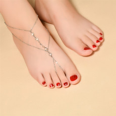 B-0796 Fashion Summer Turkish Silver /Gold Plated Chain with Rhinestone Foot Anklet Girl&Women jewelry