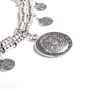 N-6426 * vintage Summer Style Gypsy Silver Plated Alloy Carving Coin Waist Chain Belly Body Chain Body Belt