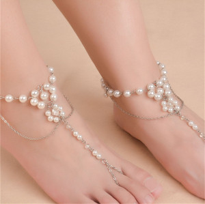 B-0795 New Fashion Summer Anklet Pearl Anklets Foot Silver Gold Chain Crystal Hamsa Beach Jewelry Girl
