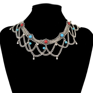 N-6425 Fashion Boho Vintage Silver Plated  Chain Red& Blue Resin Beads Tassel Statement Women Necklace Jewelry