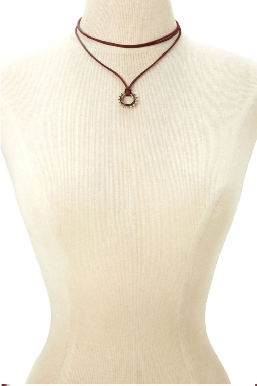 N-6424 bohemian Vintage gold Plated  Chain Red leather chain with sun shape pendant necklace for Women Jewelry