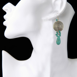 E-3869 Bohemian Silver Plated Round Alloy Drop Earrings Natural Turquoise Beaded Fish Hook Dangle Earrings For Women Jewelry