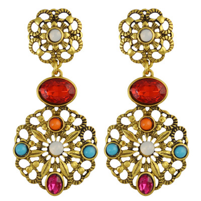 E-3868  Retro Palace Hollow Inlay Colored Gemstone Crystal Resin Beads Fashion Drop Earrings for Women