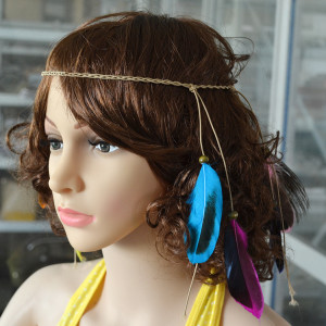 F-0359 Bohemian vintage style Handmade Wood Beads feather tassel Rubber Band hair Jewelry