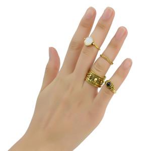 R-1394  4 Pcs/set Fashion Vintage Resin Knuckle Nail Midi Ring Set Jewelry 2 Colors