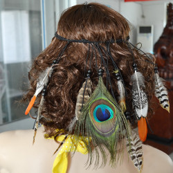 F-0358 Charming Bohemian style Handmade Wood Beads Wave Leather Feather Tassel  Hairband Accessory Jewelry