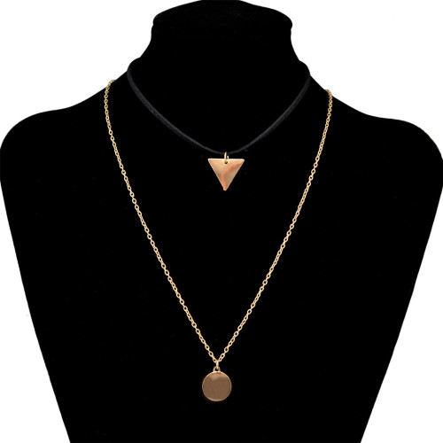 N-6421 bohemian style gold plated chain Fashion style black Leather chain coin shape pendant Necklace for women jewelry