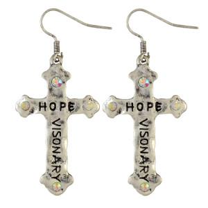 E-3866 Baroque Vintage Silver Alloy Rhinestone Carved Letter Hope Cross Dangle Earrings
