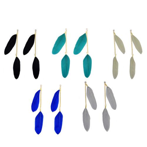 E-3874 5 Colors Bohemian Fashion Drop Earrings Feather Tassel Crystal Rhinestone Earrings for Women Jewelry