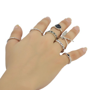 R-1401  7 Pcs/set Fashion Vintage Silver plated black Resin Knuckle Nail Midi Ring Set Jewelry for women jewelry