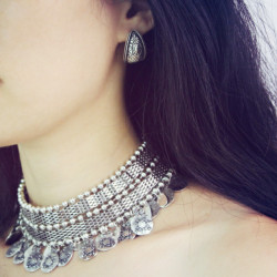 N-6348 Vintage Tribal Tibet Silver Statement Collar Choker Bib Necklace Short Chain Wide Necklaces 2 Styles