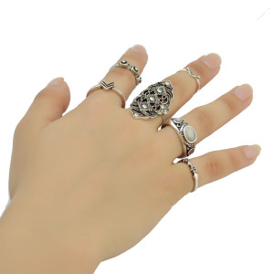 R-1399  6pcs Set Vintage Silver Gypsy Hollow out Crystal Rhinestone Knuckle Nail Midi Finger Ring