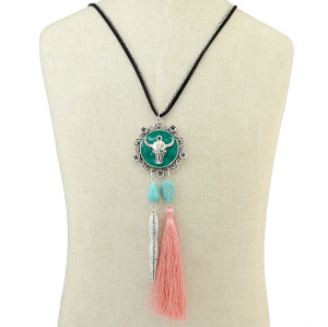 N-6432 Bohemian Vintage Style Silver Plated Long Chain bull shape Pendant with leaf tassel Necklace for Women Jewelry