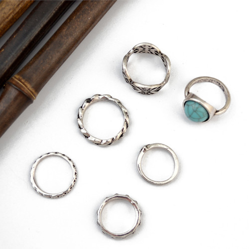 R-1398 6Pcs/set Bohemian Turkish Silver Alloy Natural Turquoise Finger Nail Midi Rings  Hollow out  Knuckle Rings For Women Jewelry