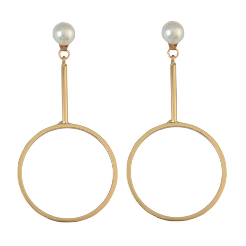 E-3879  Fashion Simple Design Goldplated Pearl Round Shpe Dangle Earring for Women Jewelry
