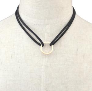 N-6440 Korean Fashion Black Velvet Rope Ring Pendant Choker Necklace Jewelry