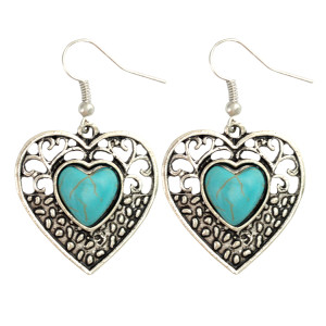 E-3878  Bohemian Vintage Silver Plated Heart Love Drop Earring Natural Turquoise Hook Earrings for Women