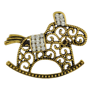 P-0333 Vintage Silver/Gold Brooch Pins Crystal Rhinestone Silver Alloy Brooches Unisex Jewelry Suit Accessories