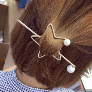 F-0361 New Fashion Women Girl Exquisite Gold Plated Alloy Pealr Hair Clip Hair Jewelry