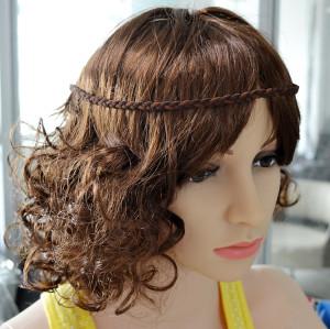 F-0360 Bohemian Handmade Wooden Beaded Weave Leather Feather Tassel Hairband Accessory Jewelry