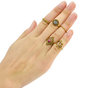 R-1397  5 Pcs/set  Fashion Turquoise Stone Knuckle Rings Vintage Gold Plated  Leaves shape Finger Rings Jewelry